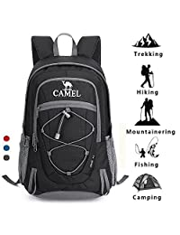 Camel Waterproof Hiking Backpack for Women Men Lightweight Daypack for Travel Outdoor Camping (30L)