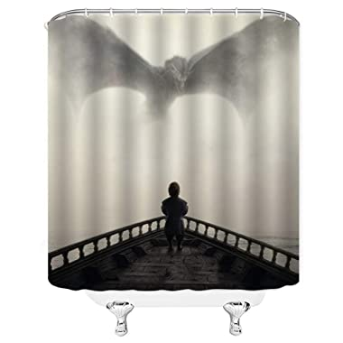 Waynejunior Grey Dragon at Sea Dwarfs Shower Curtains Movie Theme Home Decor Collection Polyester Fabric Bath Curtain with 12 Hooks 66X72inch 165X180cm