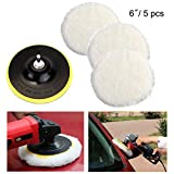 Cxtiy Polishing Buffer Pad Set, Wool Polish Waxing Pad with Velcro Wheel and M14 Drill Adapter for Car Glass Ceramic Stone (6inch 5pcs)