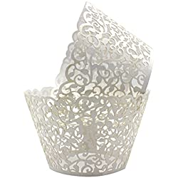 KEIVA Pack of 100 Vine Cupcake Holders Filigree Artistic Bake Cake Paper Cups Vine Designed Decor Wrapper Wraps Cupcake Muffin Paper Holders for Wedding Party Birthday Decoration (100, White)