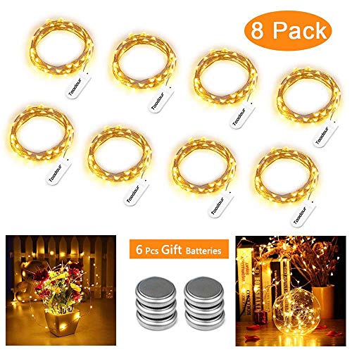 Battery Fairy Lights 8 Packs 30 LED 10ft Battery Operated String Lights, DIY Silver Wire LED String Lights for Wedding, Bedroom, Home, Party, Table, Christmas Decor (Warm White)