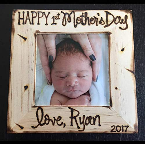 First Mother's Day Wood Picture - Enclosure Gift Personalized