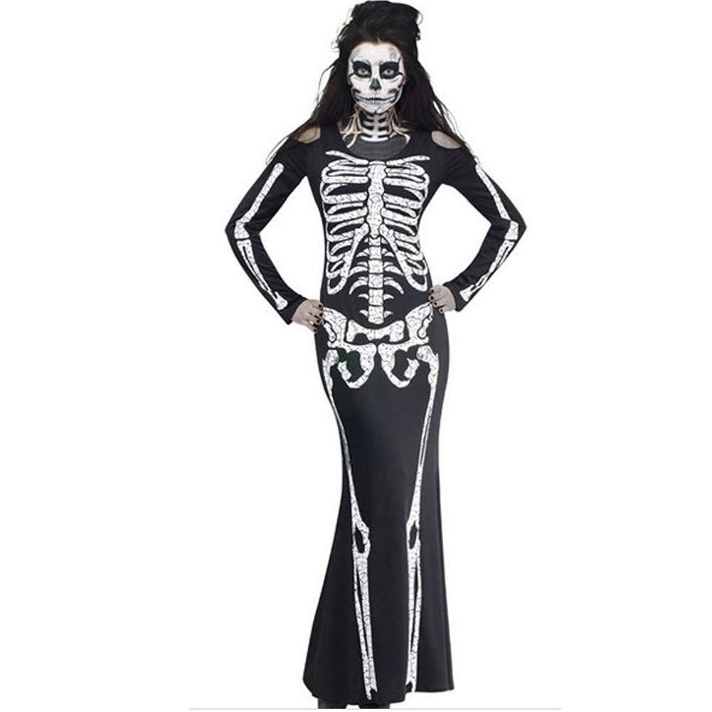 Halloween Dress for Women Vovotrade Women Ghost Festival Horror Dress Skeleton Print Dress Long Sleeve Evil Dress Halloween Costume Party Dress