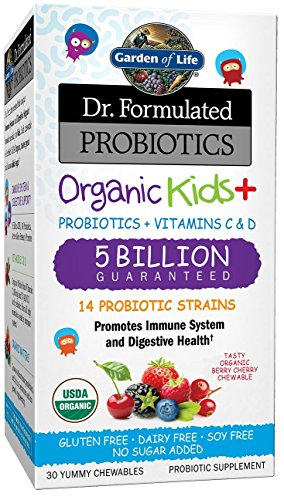 Garden of Life Probiotic for Kids - Dr. Formulated Organic Kids+ Supplement, 30 Chewable Tablet