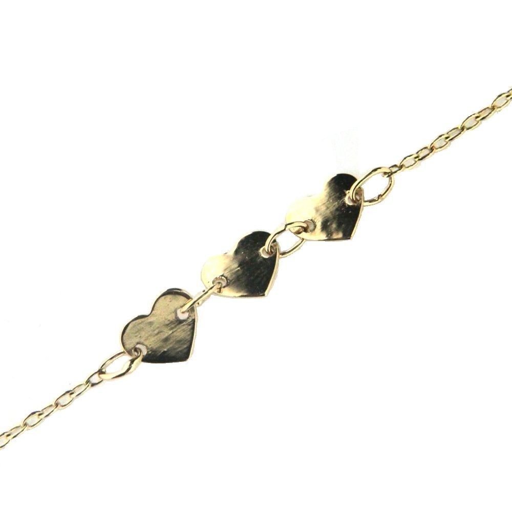 18K YG tri polish flat heart barcelet 5.50 inch with extra rings at 4.75 inch