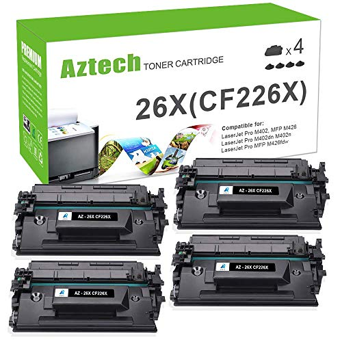 Aztech Compatible Toner Cartridge Replacement for HP 26X CF226X 26A CF226A (Black, 4-Packs) ()
