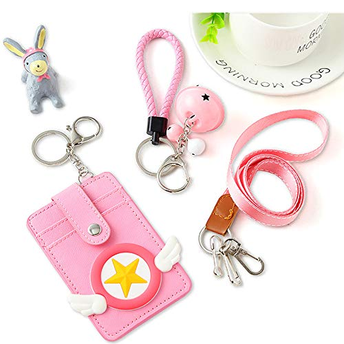 Pink Lanyard with ID Holder, 2-Layer PU Leather Badge Holder with 3 Card Slots and Snap Design, 3 Pink Bell and 1 Pink Hand Rope Suit for Little Kids Students ()