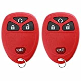 KeylessOption Keyless Entry Remote Control Car Key Fob Replacement For 15913421 -Red (Pack of 2)