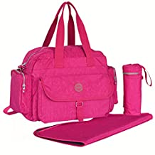 Newtion Chic Pure Color Waterproof Baby Nappy Changing Bags Women Soft Diaper Handbag Large Capacity Cross Body Bags(Pink)
