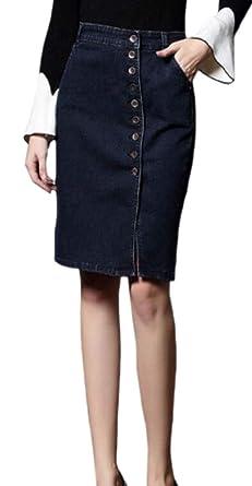 BingSai - Faldas largas de Jean con Botones en la Parte Delantera ...