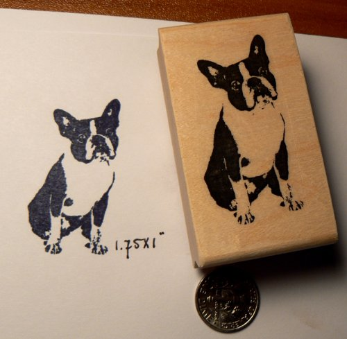 P44 Small Boston Terrier Dog rubber stamp