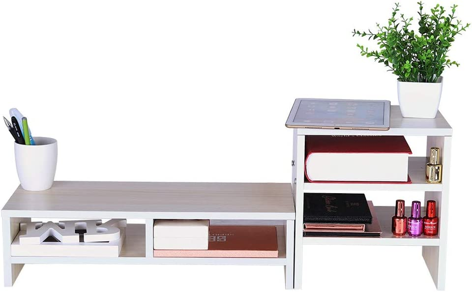 White Fulijie Display Heightening Bracket Laptop Base Bracket Cellphone TV Printer Stand Office Desk Keyboard Storage Rack