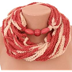 Infinity Hand Crocheted Jewelry Necklace, Beaded Scarf Hand Painted Wool Yarn