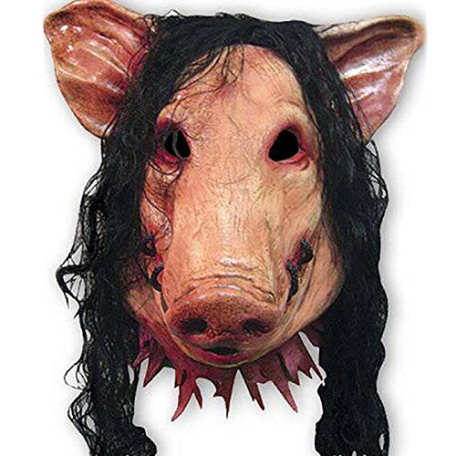 Caveira No Halloween (Fodimex - 1PC Saw Pig Head Scary Masks Novelty Halloween Mask with Hair Halloween Mask Caveira Cosplay Costume Latex Festival)
