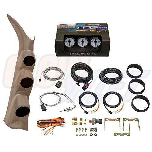 (GlowShift Diesel Gauge Package for 2000-2006 Chevrolet Silverado Duramax & GMC Sierra - White 7 Color 60 PSI Boost, 1500 F EGT & 30 PSI Fuel Pressure Gauges - Color Matched Tan Triple Pillar Pod)