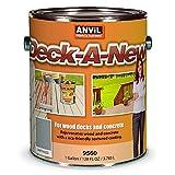 Anvil Deck-A-New Resurfacer Paint, Restores Wood Decks, Porches, Concrete Patios & Pool Decks, Premium Textured, 5 Slip Resistant Colors Available - Driftwood, 1 Gallon