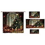 iPrint Bathroom 4 Piece Set Shower Curtain Floor mat Bath Towel 3D Print,Big Old Fashioned Window Xmas Tree Various,Fashion Personality Customization adds Color to Your Bathroom.