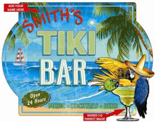 Tiki Bar with Parrot Personalized 3D Hardboard Wall Sign from Redeye Laserworks - Parrot Tiki Bar