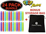 Fun & Toys Inc. Poof Pop Tubes (Toobs) Set of 24 (Colors May Vary) by Poof Slinky With Bonus Storage Bag