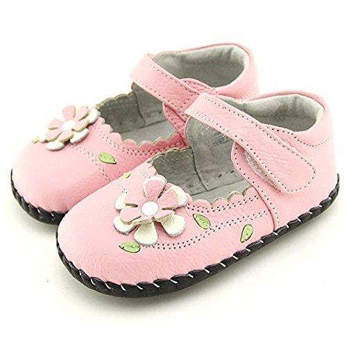 FREYCOO - Zapatillas de estar por casa de cuero para niña Rosa