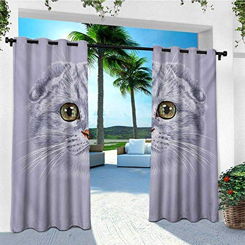 leinuoyi Cats, Outdoor Curtain Grommet, Animal Theme Portrait of Cute Kitten with Green Color Eyes Illustration Print, for Gazebo W108 x L108 Inch Purplegrey and Grey