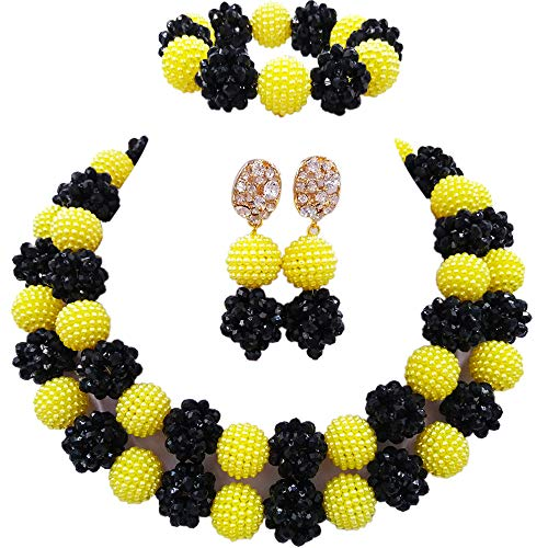 laanc Womens Nigerian Wedding African 2Rows Jewelry Sets Black and Yellow 18inch Necklace