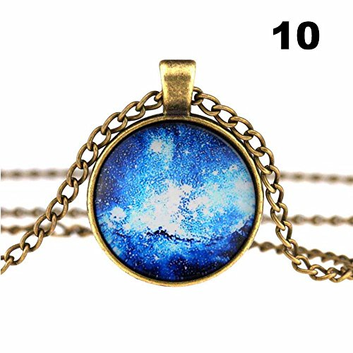 RedSonics Vintage Look Galaxy Star Glass Cameo Cabochon Demo Universe Pendant Necklace [ 10 ]