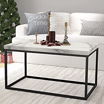 Roomfitters Faux Marble Top Coffee Table Living Room Essentials Accent Rectangle Cocktail Table,White Coffee Table
