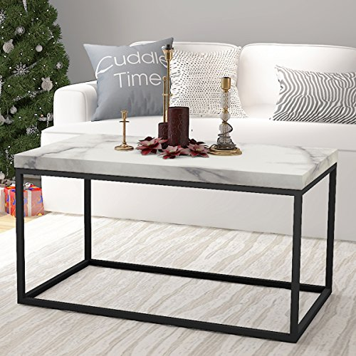 Bon Amazon.com: Roomfitters Marble Print Top Coffee Table Living Room  Essentials Accent Rectangle Cocktail Table,White Coffee Table: Kitchen U0026  Dining