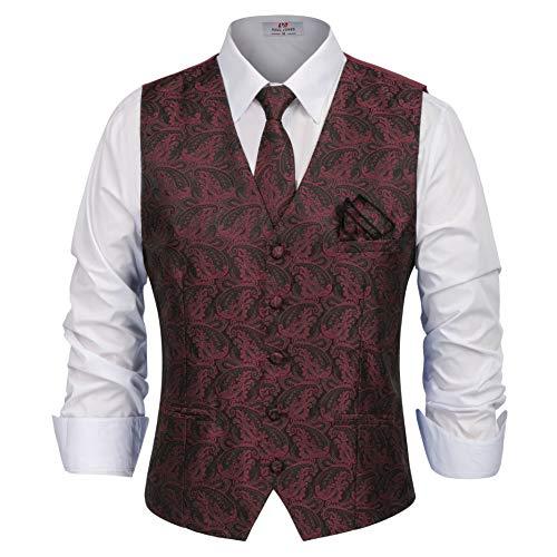 PAUL JONES Men's Tuxedo Formal Jacquard Vest with Necktie,Handchief Size S Wine