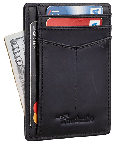 Travelambo Front Pocket Wallet Minimalist Wallets Leather Slim Wallet