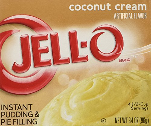 Jell-O Instant Pudding & Pie Filling, Coconut Cream, 3.4-Ounce Boxes (Pack of 4) (Pie Cream Mix)