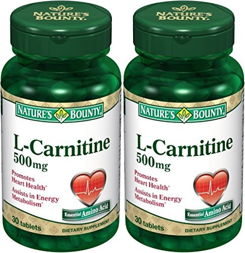 Nature's Bounty L-Carnitine 500mg, 60 Tablets (2 X 30 Count Bottles)