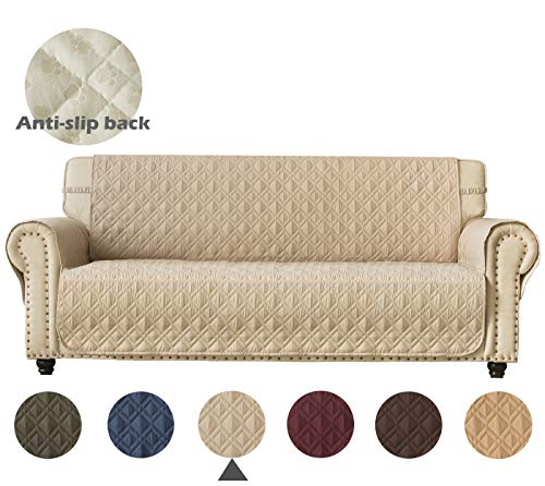 Ameritex Couch Sofa Slipcover 100% Waterproof Nonslip Quilted Furniture Protector Slipcover for Dogs, Children, Pets Sofa Slipcover Machine Washable Oversize Sofa (Pattern1:Beige, XL Sofa) (Waterproof Sofa Cover)