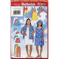 Butterick Girls Fashion Essentials Pattern 5024 Girls' Shirt, Dress, Top, Skirt, Shorts, Pants & Hat, Sizes 7-8-10-12-14