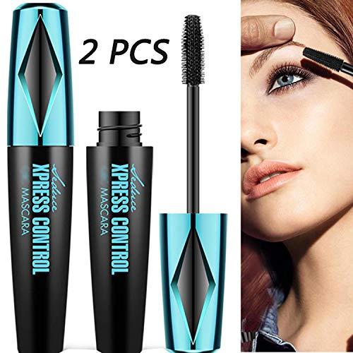4D Silk Fiber Lash Mascara, 2 Pieces Waterproof Long Lasting Eyelash Mascara, Silicone Brush Head, Smudge-Proof, Black (Color 2)