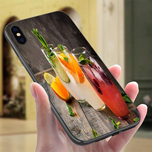 Creative iPhone Case for iPhone X/XS Set of Three Kinds of Gin Tonic Resistance to Falling, Non-Slip,Soft,Convenient Protective Case