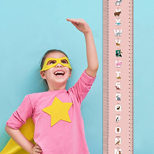 Growth Chart Height Growth Chart to Measure Baby, Child, Grandchild Kids Ruler Height Measure Chart Wall Decoration Growth Ruler Gift (Pink)