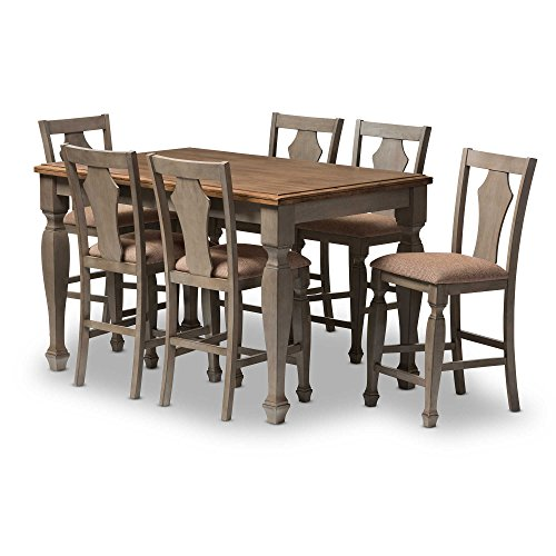 Arianna Wood 7-Piece Dining Set in Grey/Brown with cushion