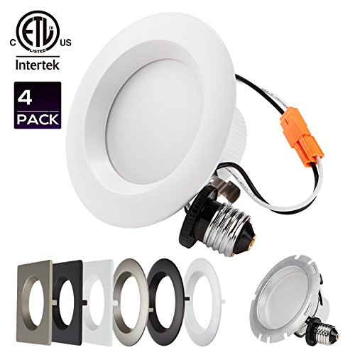 4-PACK 4 Inch Dimmable Recessed LED Downlight, 10W (75W Equiv.), White Trim (New 4 Inch Trim)