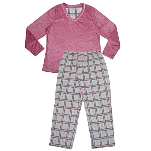 2-pcs-set-plus-size-liz-claiborne-womens-gorgeous-polar-fleece-pajama-top-pants-set-xxl-multicolor