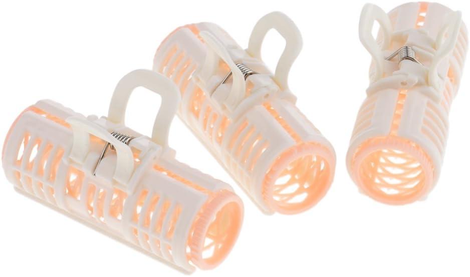 3 x Bigudíes de Rodillos de Pelo de Plástico Sujetadores Rulos Rodillos Pro Herramienta de Peinado