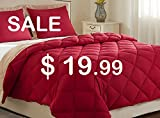 downluxe Lightweight Solid Comforter Set (Twin) with 1 Pillow Sham - 2-Piece Set - Red and Tan - Hypoallergenic Down Alternative Reversible Comforter by