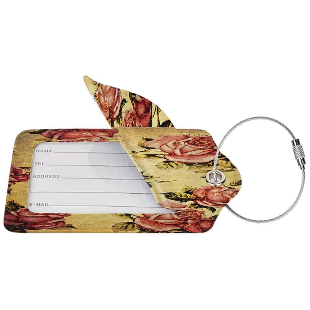 Personalized luggage tag Roses Decorations Old Fashioned Victorian Style Rose Pattern with Dramatic Color Boho Art Design Easy to carry Mustard and Ligth Pink W2.7 x L4.6