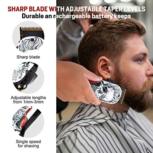 Professional Hair Clipper, HONGNAL 2-Speed Cordless Hair Cutting Kit 5500RPM, 2000mAh Rechargeable Battery with 8 Attachment Guards, Precise Stainless Steel Cutting Blade
