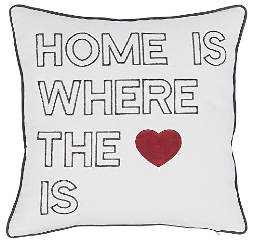 ADecor Pillow Covers Home is where love is pillow cases pillow covers embroidered cushion housewarming gift new home couple love P333 (18X18, Ivory)