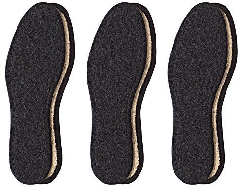 Pedag Washable Deo-Fresh Insoles with Natural Cotton Terry and Sisal Fibers, Black, 3 Count, US7/EU37
