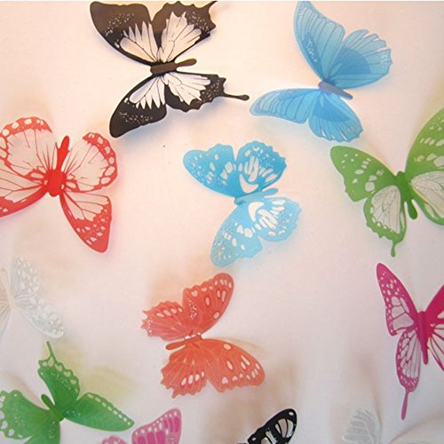 Amaonm® Bulk 60 PCS 5 Packages 3d Colorful Butterflies Wall Stickers Murals Removable Pvc Transparent Diy Butterfly Wall Decals Wallpaper Wall Decorations for Girls Room Bedroom Wedding (H011)