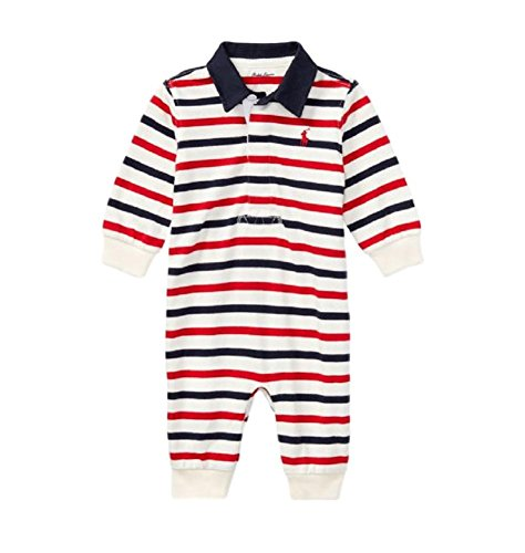 RALPH LAUREN Baby Boys Striped Cotton Rugby Coverall (Clubhouse Cream/Navy, 9 Months) (Rugby Club Boys)