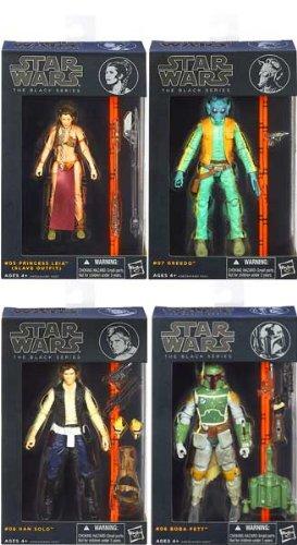 Star Wars Black 6 Inch Series 2 Set of 4 Action Figures [Boba Fett, Slave Leia, Han Solo & Greedo]